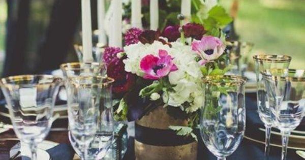 Color inspiration midnight blue and navy wedding ideas for Midnight blue centerpieces