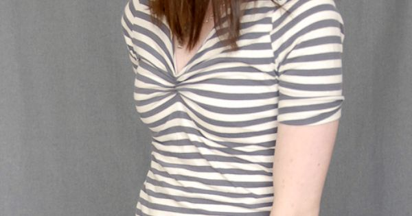 T-shirt fashioned out of a long sleeved turtle neck. No sewing!