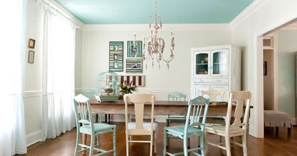 Rustic dining room design with light blue ceiling 1024x679 for Light blue dining room ideas