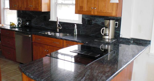 Natural cherry cabinets with bross blue granite counters for Kitchen 452 cincinnati