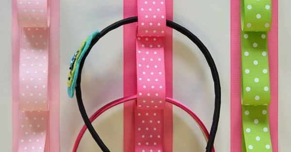 Ribbon Headband Holders. Something to add to the hair bow holder in