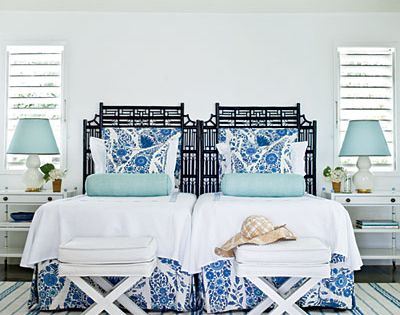 Beach bedroom! Love the idea of two twin beds for a guest