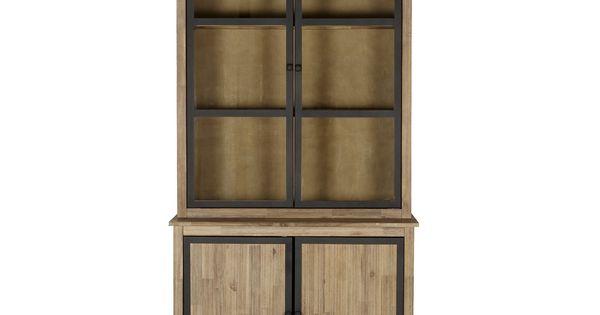 Meuble double vitrine style industriel brun blanchi - Eclairage bibliotheque ikea ...