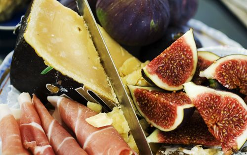 Figs, prosciutto, and cheese plate