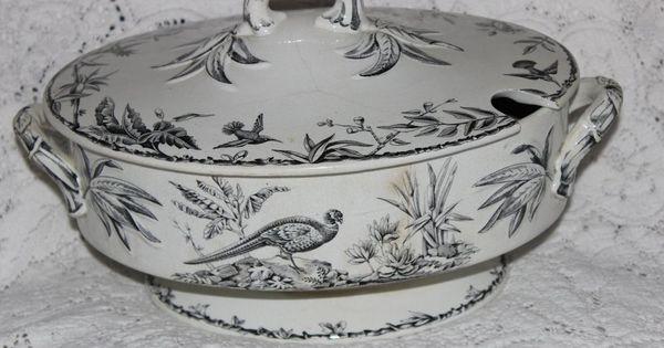 Antique Ridgway Pottery Indus Black Transferware 19th