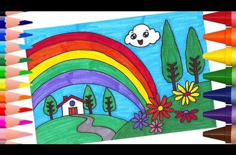 تعليم الرسم والتلوين للاطفال تعلم كيف ترسم منظر طبيعي مع قوس قزح التلوين بالاقلام اللبدية Youtube Rainbow Card Kids Rugs Rainbow
