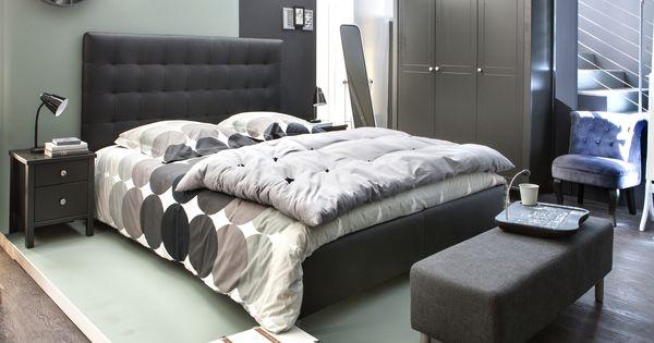 Chambre zen et cocon lit et t te de lit capitonn e japp armoire et chevet ornella lampe de - Tete de lit zen ...