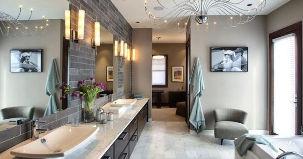 Contemporary Bathroom With Gray Subway Tile Walls, Tile Floor & Vessel Sinks.
