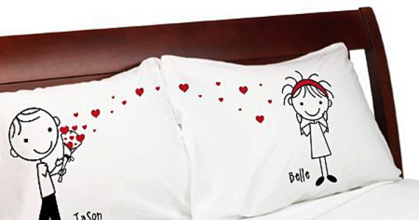 ?Stick People? ? Cute Heart Bouquet Couple Anniversary Pillow Cover Personalized Stick Figure ...
