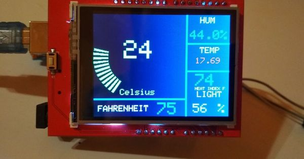2 4 Tft Arduino Weather Station With Multiple Sensors Arduino Weather Station Arduino Projects