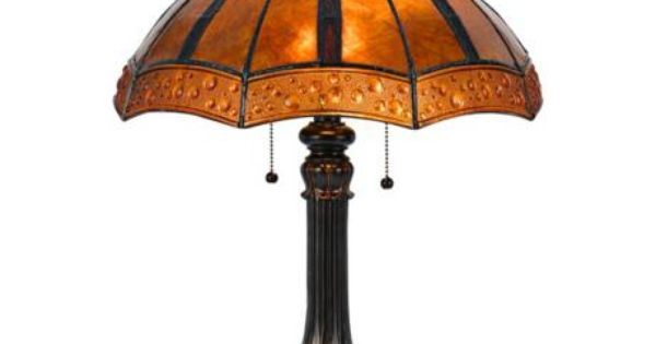 Golden Sunset Bronze And Mica Shade Tiffany Style Table