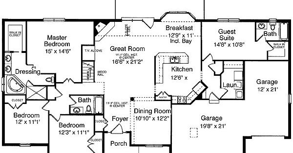 One story ranch house designs ranch home plan 3984st for Single story brick house plans