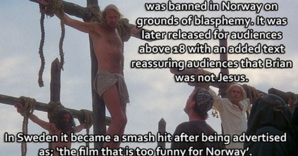 Life Of Brian The Film That Is Too Funny For Norway And Always Look On The Bright Side Of Life Whistling Monty Python Humor Python