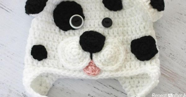 Repeat Crafter Me: Crocheted Free Dalmation dog hat ...