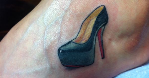 christian louboutin shoe on foot ink