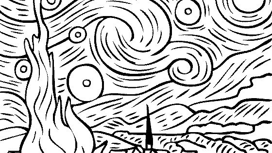 Vincent Van Gogh Starry Starry Night Coloring Famous Starry Coloring Page Gogh