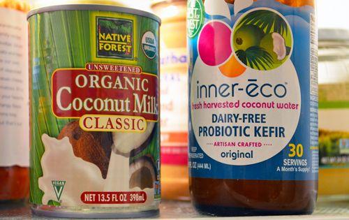 Mix coconut milk & keifer & let it ferment in oven. Voila ...
