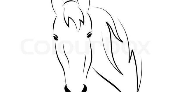 stockvektor von 'symbol umriss kopf pferd auf weißem