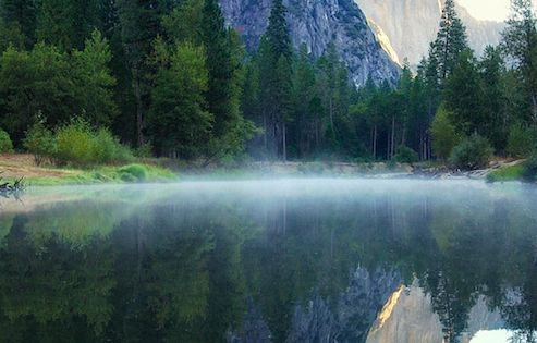 First light on Three Brothers in Yosemite National Park, California • photo: