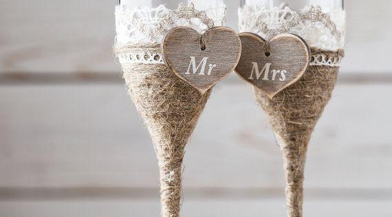 wedding toasting glasses rustic toasting flutes wedding champagne flutes bride and groom wedding. Black Bedroom Furniture Sets. Home Design Ideas
