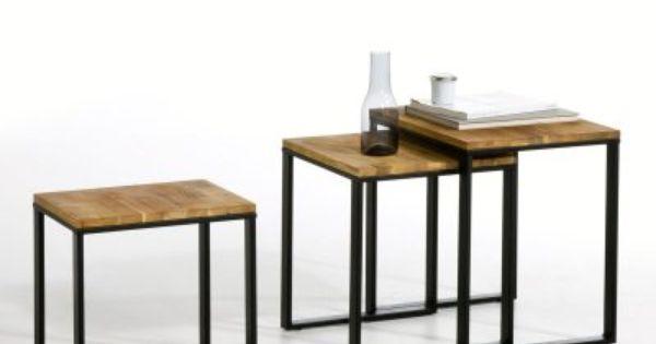 Table gigogne noyer massif about et acier lot de 3 - Table hiba la redoute ...