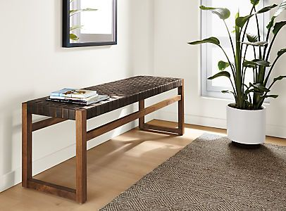 Room Board Reed Woven Leather Bench Modern Benches Stools Ottomans Modern Entryway Furniture Living Room Stools Entryway Furniture Modern Furniture Living Room