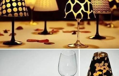 DIY wine glass lamp. Use with tea light candles.