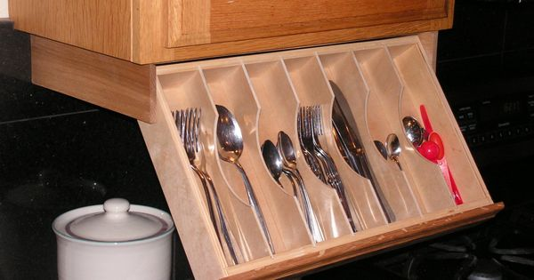 Under cabinet drawer silverware storage flatware for Silverware storage no drawers