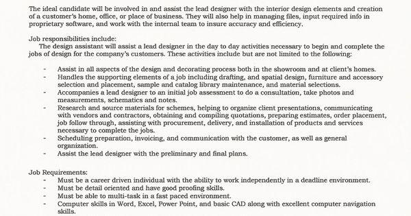 Landscape Design Assistant Job Description