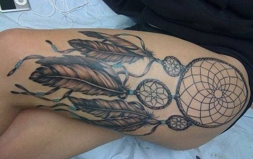 Dreamcatcher tattoo thigh thigh tattoo leg tattoo dreamcatcher tattoo ink inked tribal