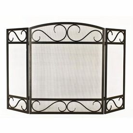 Style Selections 50 15 In Black Powder Coated Steel 3 Panel Scroll