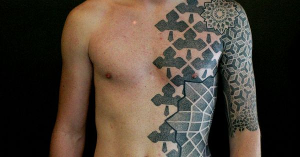 Geometrical tattoos. Ken, tattooed by Vincent Hocquet, Beautiful Freak Tattoo & Piercing,