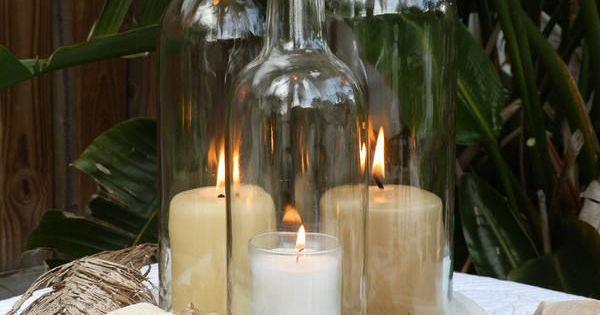 Bomolutra triple wine bottle beach rustic wedding for Wine glass lamp centerpiece