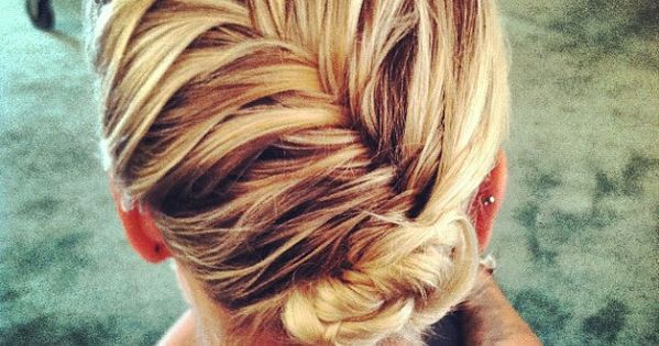 french fishtail with a bun. great for fine hair!Use the same theory