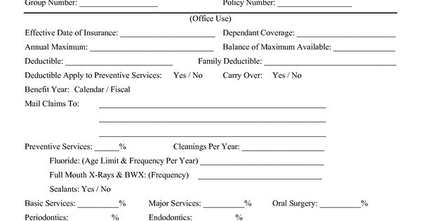 Dental Insurance Verification Forms Dental Insurance  Yummies