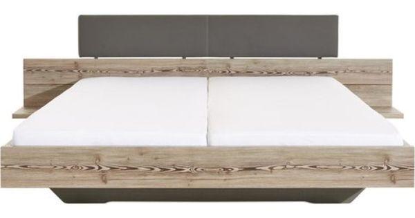 lit 2 personnes avec t te de lit imitation cuir et chevets int gr s rauch d cor bois naturel. Black Bedroom Furniture Sets. Home Design Ideas