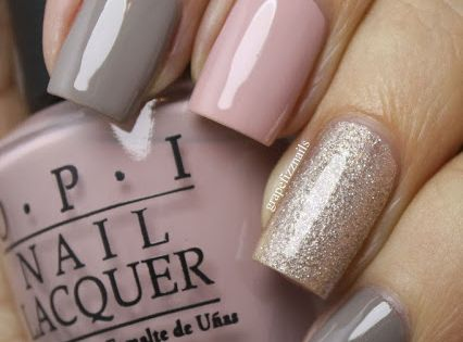 Pretty grey and pink nails OPI French Quarter For Your Thoughts on