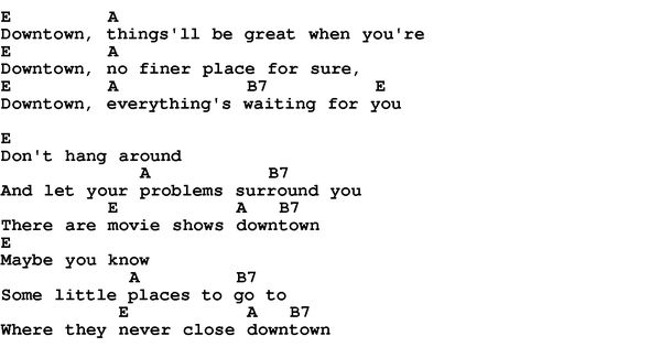 Song Downtown by Petula Clark, with lyrics for vocal performance and accompaniment chords for ...