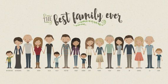 20 Incredible Custom Illustrated Family Portraits Family Drawing Family Drawing Illustration Illustrated Family Portrait