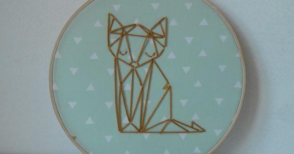 Tambour cercle broder cadre rond renard dor origami for Decoration renard