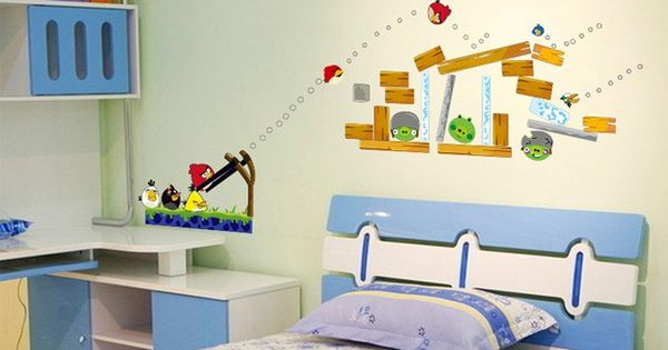 Cartoon wall decals removable vinyl angry birds wall for Angry bird wall mural