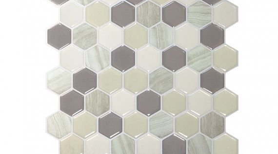 Smart Tiles Hexagone Greige Smart Tiles Greige Bathroom Renovation Hardware