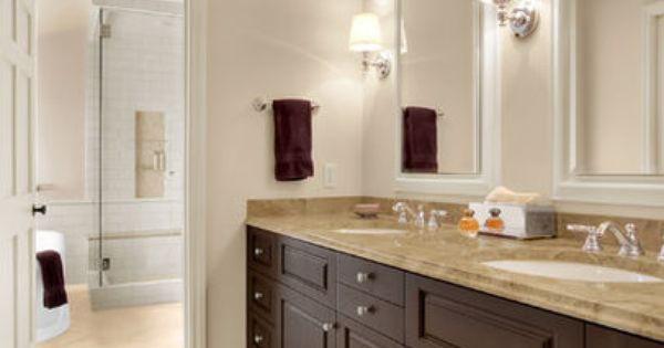 Bath Softer Tan Brown Cabinets Design Ideas Pictures Remodel And Decor Traditional Bathroom Traditional Bathroom Designs Perfect Paint Color
