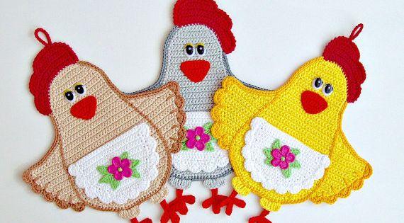 067 pollo se ora decoraci n o potholder por littleowlshut for Decoracion del hogar pdf