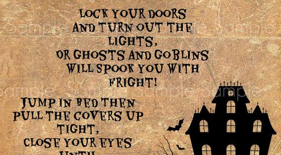 Quotes About Haunted Houses: Primitive Halloween Haunted House Poem Feedsack By