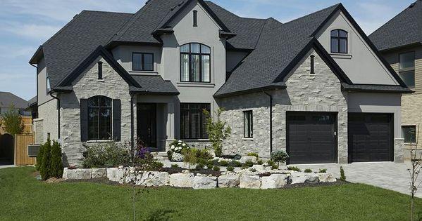 Black window trim on stucco and stone google search for Exterior by design stucco stone