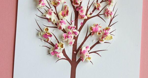 cherry blossom popcorn tree kid craft w  free printable template