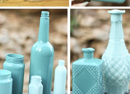 Oh So Lovely: DIY GLASS CENTERPIECES I found this site for paint