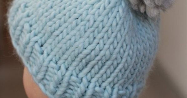Beginner Bobble Hat Knitting Pattern : Easy Bobble Hat by Helen Stewart Free beginners hat knitting pattern Blue Sky...