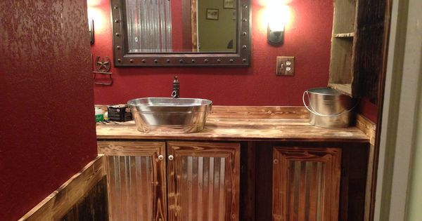 Part 2 Of Our Rustic Bathroom The Bottom Half Is Old Barn